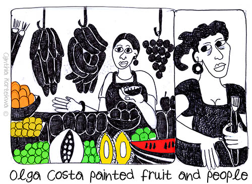 Olga Costa painted fruit and people