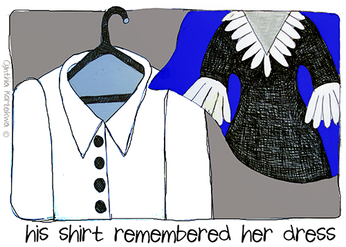 his shirt remembered her dress