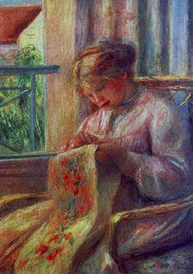 Woman Sewing by Renoir