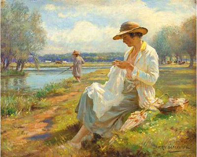 William Kay Blacklock - Sewing by the River